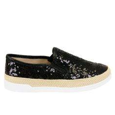 Winnie-05 Black Sequins Slip On White Sole Sneakers