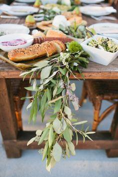 food displayed among eucalyptus