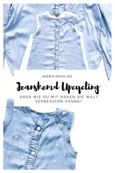 Turn old into new - turn big into small. How about upcycling a denim shirt? You could sew clothes that grow with your baby - for example, a cute dress. Upcycling Denim Shirt - or: World Improvement Sewing Denim Button Up, Button Up Shirts, Estilo Jeans, Baby Bike, Diy Kleidung, Mode Jeans, Baby Vest, Baby Shirts, Denim Shirt