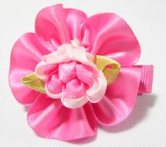 Folded Rose Baby Hair Clip Red. 4cm (L) by 4cm (W). Ideal for children from 1 1/2 year old onwards. 1 for $1.50. Like us at https://www.facebook.com/pages/ChucklingBaby/675475065907287.