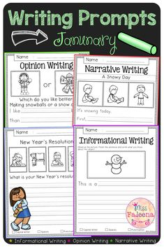 January Writing Prompts contains 60 pages of writing prompts worksheets. This product is suitable for kindergarten and first grade students. Students are encouraged to use thinking skills while improving their writing skills. These pages can be used for morning work, literacy centers, and writing centers. |Kindergarten Worksheets | First Grade | Informational Writing Prompts | Opinion Writing Prompts | Narrative Writing Prompts | Writing Prompts Literacy Centers | Winter Writing Prompts