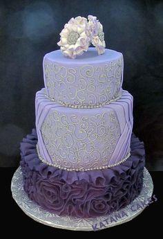 Purple fondant ruffles and silver piping  ~ Wedding Cake ~ sugar fantasy pearl flowers ~ totally edible