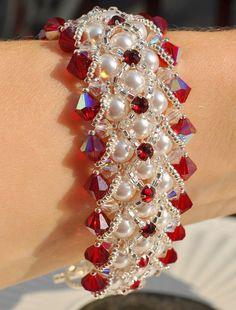 Joyería de novia dama de honor boda Swarovski cristal Perla pulsera de la madre regalo Siam cristal pulsera Gatsby Vintage boda de 1920