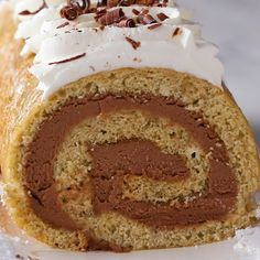 """Banana Bread Chocolate Cheesecake Swiss Roll Recipe by Tasty DON""""T OVERMIX! It'll go chewy when baked! Still tasty though. Cake Roll Recipes, Banana Bread Recipes, Dessert Recipes, Food Cakes, Cupcake Cakes, Cupcakes, Strawberry Cheesecake Cake, Chocolate Cheesecake, Fried Cheesecake"""