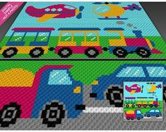 Order here: Planes, Trains, Automobiles crochet blanket pattern; Crochet C2c, Crochet Chart, Crochet Blanket Patterns, Cute Crochet, Baby Blanket Crochet, Crochet For Kids, Crochet Cross, Hama Beads, Corner To Corner Crochet