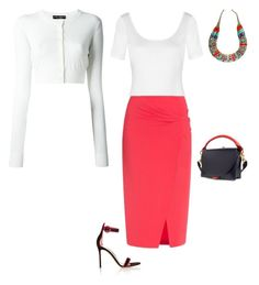 """""""SS D SKIRT, T-SHIRT, CARDIGAN, SANDALS - RED & WHITE"""" by laliquemurano on Polyvore featuring Diane Von Furstenberg, Sacai, Dolce&Gabbana, Vionnet and Lazuli"""