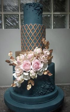 Floral wedding cakes are so versatile that they can be adapted to fit almost any wedding theme Go the rustic route with scattered buds and greenery at the cakes base A co. Burgundy Wedding Cake, Black Wedding Cakes, Floral Wedding Cakes, Wedding Cakes With Cupcakes, Wedding Cakes With Flowers, Beautiful Wedding Cakes, Wedding Cake Designs, Wedding Cake Toppers, Beautiful Cakes