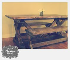 Attrayant Farmhouse Table + Benches Set ~ X Trestle Legs ~ Starting At $675 # Customfurniture #