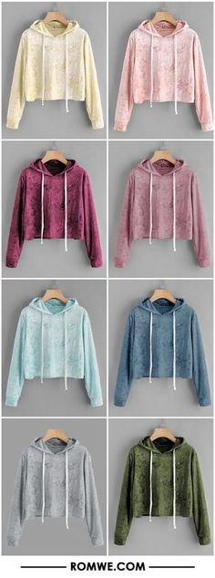 Velvet Drawstring Crop Hoodie I really like the red and pink Girls Fashion Clothes, Teen Fashion Outfits, Mode Outfits, Cute Fashion, Outfits For Teens, Girl Fashion, Cute Comfy Outfits, Cute Girl Outfits, Stylish Outfits