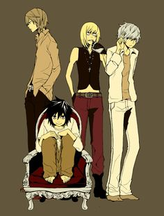 L, Mello, Near and Light in a world where Light never got the Death Note? I like, as I imagine that Near/Mello would hate Light, so he's isolated from the rest. And L's just smiling a nob.
