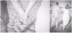Strandhochzeit, Nordsee, Holland, Strand, Natur, Brautpaar, Braut, Bräutigam, Hand in Hand, schwarz-weiß, Foto: Violeta Pelivan