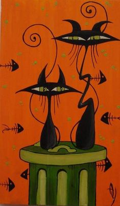 postmodernalleycats - two black cats sitting on green trash can on orange and black fish scales background.