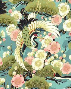 Celebration - Tsuru Crane Bird Teal with Metallic Accents from Quilt Gate Japanese Textiles, Japanese Patterns, Japanese Fabric, Japanese Prints, Japanese Art, Japanese Sleeve, Japanese Illustration, Illustration Art, Japanese Celebrations