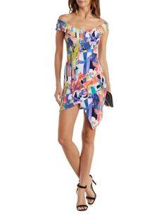 Off the Shoulder Asymmetrical Bodycon Dress #CharlotteLook