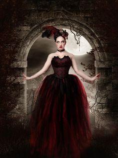 Streamer floor length tutu skirt formal red black adult --You Choose Size -- Sisters of the Moon. $130.00, via Etsy.