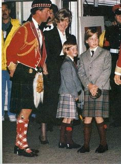 1992: Prince Harry, his father Prince Charles and brother Prince William, wore kilts.