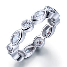 This beautiful wedding band is individually handcrafted with sparkling marquise & round cut Lab Created CZ Diamond. We use top grade lab created CZ diamond which is as brilliant as natural diamond. The wedding ring is eco-friendly and does not contain lead, nickel or cadmium. It features sterling silver with rhodium plated for tarnish resistance and a long lasting mirror finish.