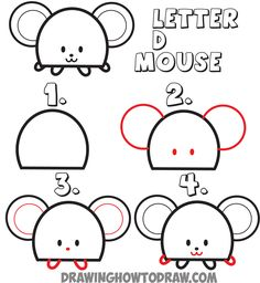 how to draw a cartoon mouse from the letter D shape