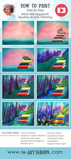 How to paint a Fantasy forest with book staircase  step by step free art class. You can paint this with The Art Sherpa Today. Enjoy this Beginners step by step how to paint full Video acrylic art lesson ! Image is property of The Art Sherpa and intended for the Students Personal education and Enjoyment. For questions regarding using any Art Sherpa painting in a commercial setting labs@theartsherpa.com Acrylic Painting Inspiration, Canvas Painting Tutorials, Easy Canvas Painting, Simple Acrylic Paintings, Painting & Drawing, Painting Videos, Painting Tips, Painting Techniques, Canvas Art