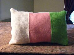 two cute little burlap pillows epsteam by betsstuff on Etsy, $35.00