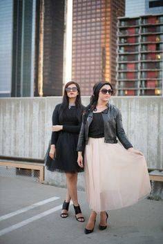 AboutThatWrap: Light pink tulle skirt, black top, leather jacket & black hijab