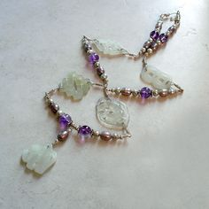 Jade Amethyst Pearl Sterling Silver Necklace  Affirming by Foret, $135.00