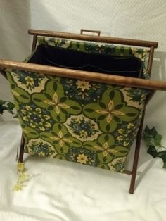 $19.96 or best offer Crochet Caddy Folding Floral Yarn Holder Vintage Stand Knitting Sewing Supplies