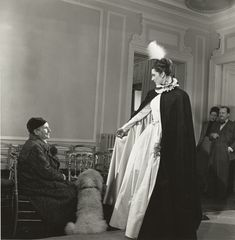 Gertrude Stein and a model in Pierre Balmain's salon, Paris, 1947 (Photograph by Horst).