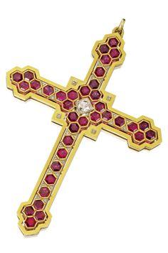 An antique garnet and diamond cross pendant, Mellerio dits Meller, Paris, circa…