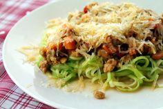 Magdalenas de Chocolate: Spaghetti de calabacín con salsa bolognesa de soja...