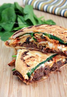 I heart kimchi and bulgogi and eat them with rice often.never thought of making a sandwich/panini with them! Bulgogi, Korean Dishes, Korean Food, Vietnamese Food, I Love Food, Good Food, Yummy Food, Healthy Food, Tasty