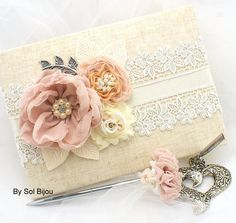 Wedding Guest Book, Signature Book and Signing Pen, Shabby Chic in Blush, Ivory, Tan, Beige and Champagne with Linen and Lace