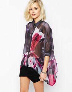 Camisa transparente extragrande con estampado orgánico de flores de  Religion Camisa Transparente 5a427edc605