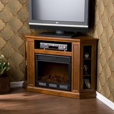 Belvedere Mahogany Media Console Electric Fireplace | Overstock.com Shopping - The Best Deals on Indoor Fireplaces