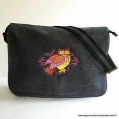 Celtic owl messenger bag, despatch bag. Celtic owl embroidered on a black canvas messenger bag.  Made to order in UK. by JaneAtNumber13 on Etsy