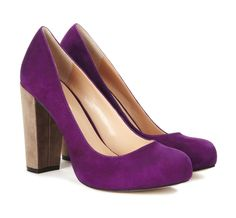 """chunky heel pumps in """"cranberry"""""""