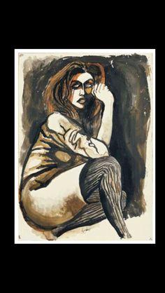 """Renato Guttuso - """" Ritratto di donna con calze """", c. 1970/1971 - China e acquarello su carta applicata su tela - 50,5 x 36,5 cm"""
