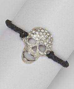 Another great find on #zulily! Black Leather Sparkle Skull Bracelet #zulilyfinds