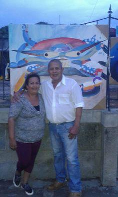 nelly Ruiz con e pintor Sud realista Miguel Ángel Gonzáles