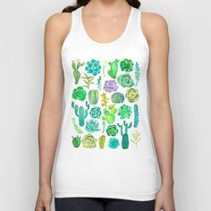 Watercolor cactus and succulent Unisex Tank Top