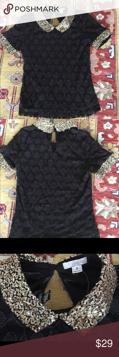 Issi Black Lace Blouse with Gold Sequins. Issi Black Lace Blouse with Gold Sequins. STUNNING. Lined, flirty, fun. Pre-loved, good condition. I attached extra button. issi Tops Blouses