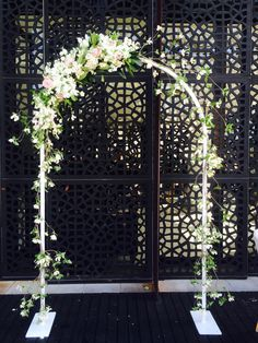 White metal arch - you can have square or round top | By Flower Jar