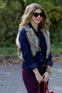 I need a faux fur vest asap.. love the navy and purple too.