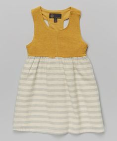 Take a look at this Marigold & Gray Stripe A-Line Dress - Toddler & Girls on zulily today!