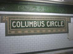 NYC Subway Tile - Columbus Circle Station at West Street New York Subway, Nyc Subway, Subway Art, Subway Tiles, Go Transit, Columbus Circle, Underground Cities, House Names, S Bahn