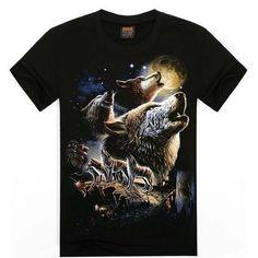 T-shirt Wolf 3D Printing Cotton T Shirt Short Sleeve