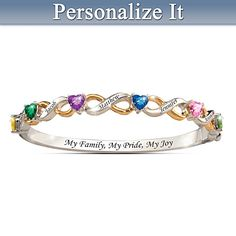 My Family, My Pride, My Joy Personalized Bracelet Up to 6 names and stones