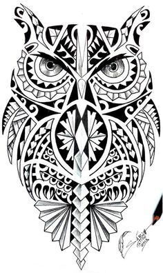 Wonderful Coruja Maori Tattoo Design #maoritattoos #maoritattoosdesigns
