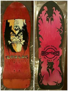 Zorlac Witch Doctor in red stain and rad custom grip Real Skateboards, Vintage Skateboards, Complete Skateboards, Witch Doctor, Skateboard Decks, Skateboarding, Old School, Indie, Red