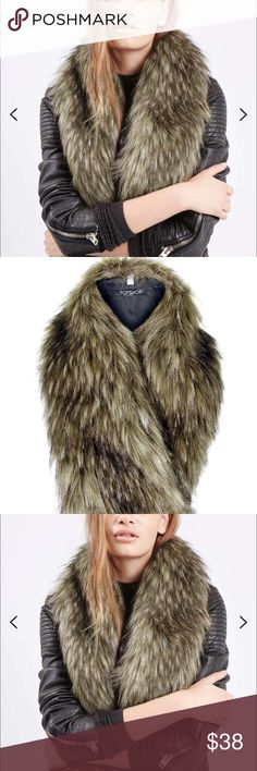 Topshop faux fur stole, brand new with tags Top Shop faux fur stole brand new with tags, can be attached to any jacket or sweater Topshop Accessories Scarves & Wraps